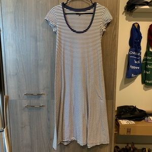 Madewell blue white stripe maxi swing dress XXS